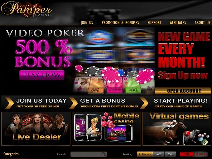 Pampercasino.Com Website